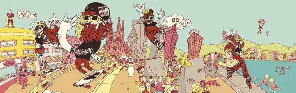 Gigantografía ilustrada de L'Idem Barcelona para la tienda de patines Inercia